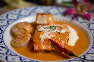 Red curry salmon scallop seafood