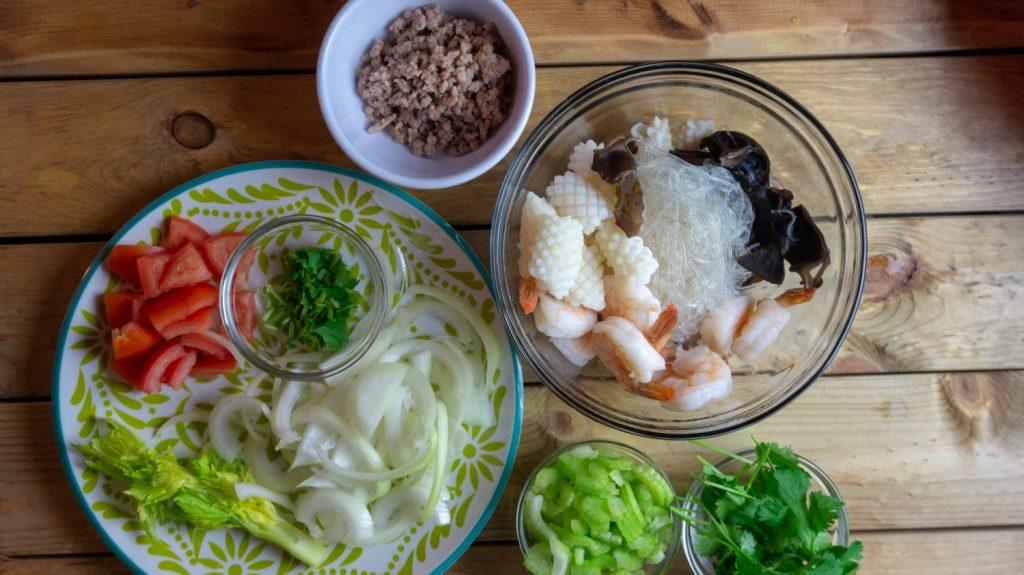 Seafood glass noodle salad ingredients