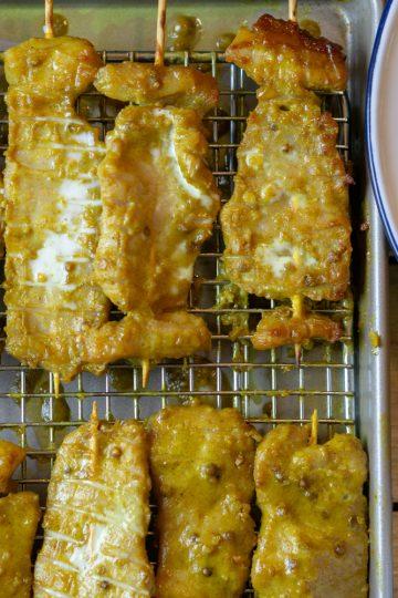 pork satay and chicken satay