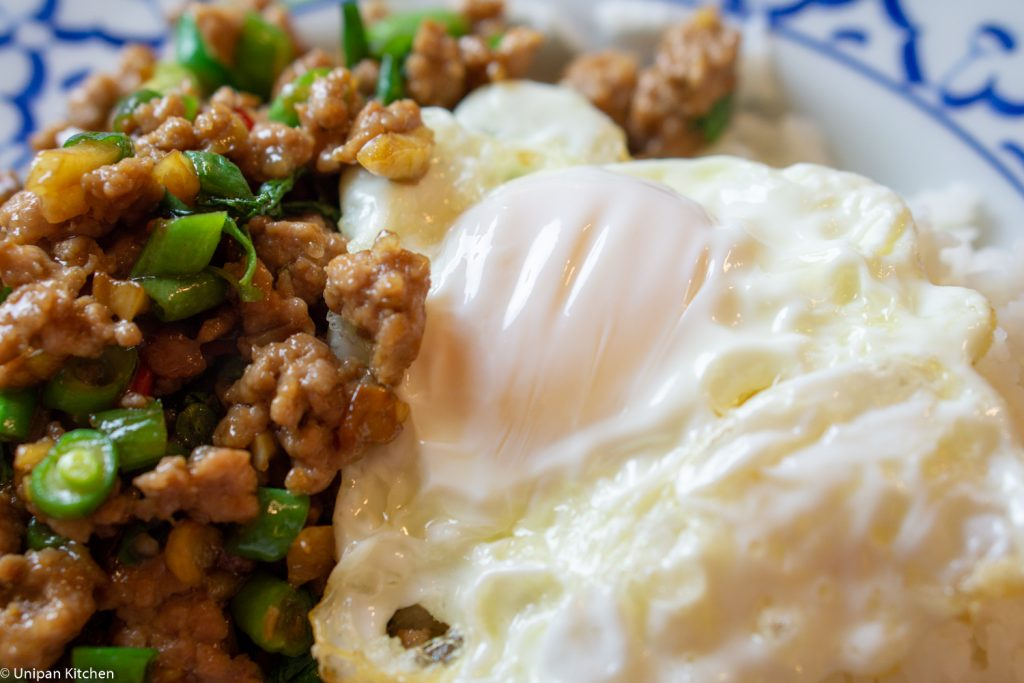 stir-fried Thai basil with fried egg